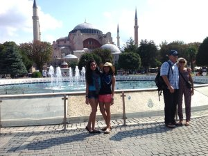 Posing in front of the Hagia Sophia